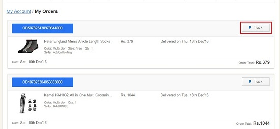Track Button on Flipkart Orders Page