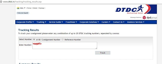 Online tracking status of a DTDC courier Consignment number