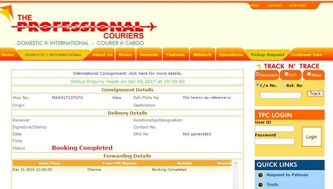 Online tracking status of a professional courier Consignment number